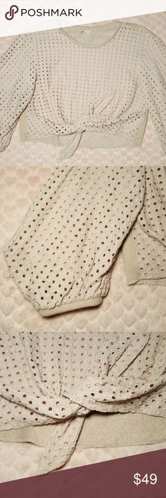 Zara Eyelet top with bell cap sleeves My favorite stylish yet comfy top. The bell sleeves give a very unique look. Zara Tops