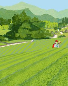 #japan #green #field #greentea #people #hiking #life #lifestyle #fappy #love #illustration #tatsurokiuchi