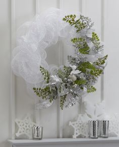FloraCraft® Winter White Mesh Wreath by Dondi Richardson #christmas #craft