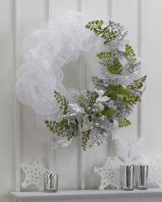 FloraCraft® Winter White Mesh Wreath by Dondi Richardson #christmas #craft