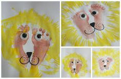 lion face fork painting - Google Search Dear Zoo, Baby Crafts, Toddler Crafts, Crafts For Kids, Infant Crafts, Zoo Animal Crafts, Animal Projects, Baby Wall Art, Baby Art