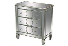 Derin Mirrored 3-Drawer Chest, Silver on OneKingsLane.com