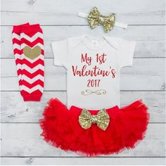 Baby Girl Valentine's Day Outfit Set - Your little girl will be sparkling in style with this adorable 4-piece Valentine's Day outfit. It also makes a great photo prop! We at Bump and Beyond Designs lo
