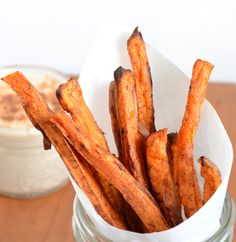 sweet potato fries and sweet cinnamon dip - good stuff! Watch the fries carefully towards the end of cooking time so you don't burn them.