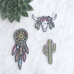 Southwestern Patch - Iron On - Embroidered Applique – Set of 3: Dreamcatcher - Cactus - Longhorn by WildflowerandCompany on Etsy https://www.etsy.com/listing/278370968/southwestern-patch-iron-on-embroidered