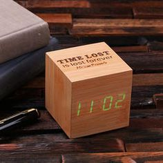 Personalized Engraved Wood Digital Clock - Cube