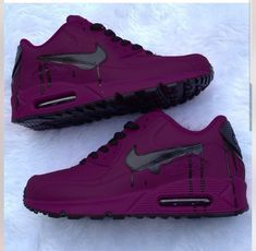 nick shoes nike New amp; Custom Purple And Black Drip Nike Air Max 90 Dream Shoes, Crazy Shoes, Me Too Shoes, Souliers Nike, Sneakers Fashion, Shoes Sneakers, Sneakers Adidas, Shoes Heels, Jordans Sneakers