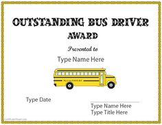 Show some appreciation! Special Certificate - Outstanding Bus Driver |  CertificateStreet.com School Bus Safety, School Bus Driver, School Tool, Bus Driver Appreciation, Teacher Appreciation Gifts, Teacher Gifts, Bus Driver Gifts, Career Exploration, Thank You Quotes