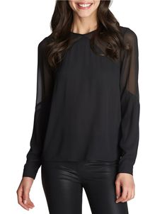 Update your fall style with this long-sleeve blouse from 1 State. Features a crew neckline and sheer chiffon accents.