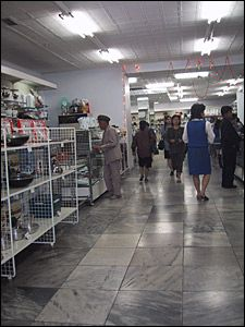 This department store in the centre of Pyongyang has the latest goods for sale. The food counters sell vacuum-packed foods. There are also traditional medicines and imported pharmaceuticals. Electronic devices are also on sale, including digital cameras and the occasional MP3 player.  Just who can afford these items on a Korean salary is not clear. Perhaps some are just there for show.