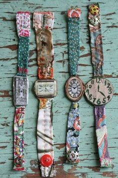 What a lovely idea for replacing worn bands...using existing watch faces...pretty fabric scraps, random notions :)