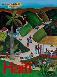 American Airlines Original Vintage Travel Poster Endless Summer Haiti