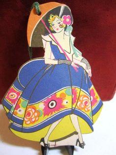 Antiques Pretty Oriental Geisha Girl Lady Bridge Tally & Scorebook 4 Tallies Art Deco Periods & Styles