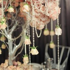 Wedding decorations with strands of pearls