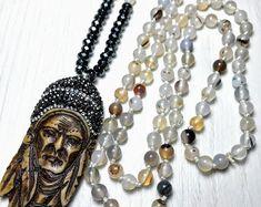 #forher#necklace#handmade#Boho#ethnic#jewlery#gifts#mala#style  long ethnic necklace, long indiana necklace, ethnic Hand knot necklace, versatile ethnic necklace, long  spirtual necklace, gift necklace