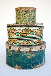 19th Century Antique Wallpaper Boxes. Makes me miss the old reproduction wallpaper factory at the Farmer's Museum