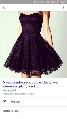 Strapless purple and black lace dress