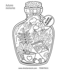 Vector Coloring book for adults. A glass vessel with memories of autumn and love. A bottle with bees,rain, autumn leaves, a cup of coffee or tea, an envelope with flowers and sad mood