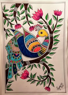 Madhubani Paintings Peacock, Kalamkari Painting, Madhubani Art, Ancient Indian Paintings, Indian Art Paintings, Modern Art Paintings, Indian Wall Art, Modern Indian Art, Art Drawings Sketches Simple