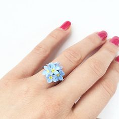 Forgetmenot ring blue flower ring for rustic wedding blue wedding rings Diy Candle Centerpieces, Diy Candles, Scented Candles, Candle Wax, Rustic Wedding Jewelry, Diy Wedding, Wedding Blue, Wedding Rustic, Wedding Paper