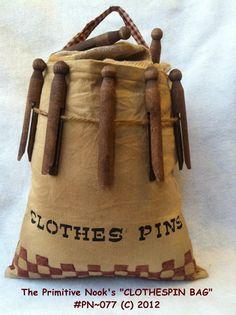 Primitive CLOTHES PIN Bag E-Pattern on Etsy... (primitivenook)