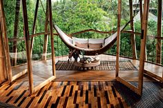 A eco bamboo Tree House in Bali designed and hand-constructed by Elora Hardy  .. for Sumant and Myriam Sharma and their four daughters ...Six stories, constructed (almost) entirely from bamboo treated with natural salt solution.