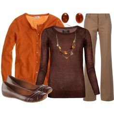 """**3/16/15 LE tan pants, brown long-sleeve tee, orange v-neck sweater, brown flats (""""Teacher, Teacher 107"""" by qtpiekelso on Polyvore)"""