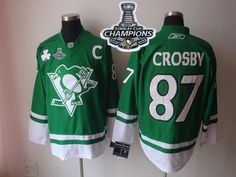 Penguins #87 Sidney Crosby Green St Patty's Day 2017 Stanley Cup Finals Champions Stitched NHL Jersey