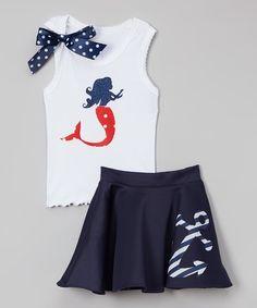 Beary Basics White Mermaid Tank & Navy Anchor Skirt - Infant, Toddler & Girls | zulily