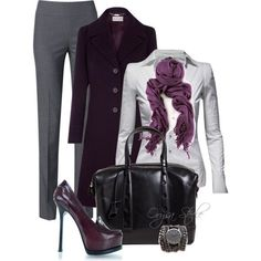 Shirt: Jane Norman Sharp Shoulder Shirts, Coat: Planet Plum A-Line, purple, Trouser: NIC+ZOE Heather Mix, Shoes: YSL Yves Saint Laurent Tribtoo Loafer pumps, Scarf: Women's Pashmina Original Pashmina Scarf, Handbag: Myriam Schaefer Women's Small Horlodge, Watch: Sara Designs All Chain Wrap ~ via Fashion Wife ~ LOVE the plum coat and YSL pumps!