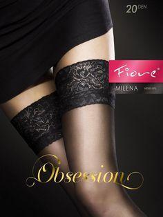 Pończochy damskie MILENA czarne  - pończochy samonośne - FIORE. IPP0049 Świetna jakość, rewelacyjna cena, modny krój. Idealnie podkreśli atuty Twojej figury. Obejrzyj też inne pończochy tej marki