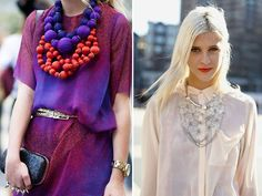 C: DIY inspiration: chunky necklaces  Lots of styling ideas for wearing chunky necklaces are here, too.