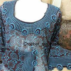 Crochet Necklace, Neckline, Crochet Tops, Blouse, Skirts, Sleeves, Women, Fashion, Kaftan