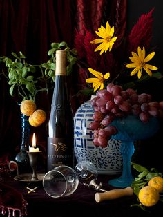 ♂ Still life with dark background rich vivid colors Wine by Yelena Strokin