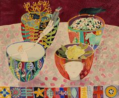 Cate Edwards paints these wonderful pictures filled with decoration and illustrative stories. Cate was born in Sydney and spent her teenage years living on