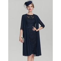 fdbeb1ff17d3 Sheath Column Scoop Neck Knee-Length Charmeuse Lace Mother of the Bride  Dress With