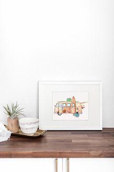 Beachy VW van art by Design by Streetlight. Summer vibes Watercolor Print, Watercolor Illustration, Romantic Artwork, Surfers, Beach Art, Bedroom Inspiration, Summer Vibes, Office Decor, Volkswagen