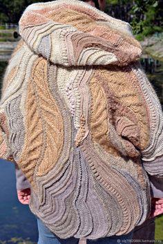 """Верхняя одежда ручной работы. Теплый вязаный жакет оверсайз с капюшоном """"Сладкий сентябрь"""" бежевый. Olga - author's knitting. Ярмарка Мастеров. Crochet Hat Earflap, Crochet Coat, Crochet Mittens, Crochet Ripple Blanket, Crochet Purse Patterns, Freeform Crochet, Vest, Long Scarf, Crochet Batwing Tops"""