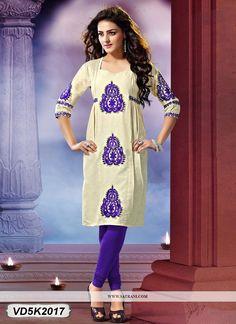 Buy this Sensuous Cream Coloured Khadi Cotton Kurti at reasonable rate from Satrani Fashion.