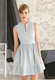 Grey Dress | V-Neck | Waistband & Gathered Skirt