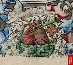 Detail of a bear playing bagpipes from a floral border, at the beginning of Matins of the Virgin.   Origin:England, S. E. ( London)