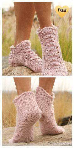Lace Knitting, Knitting Socks, Knitting Patterns Free, Knit Lace, Lace Socks, Ankle Socks, Free Crochet, Knit Crochet, Crochet Pattern