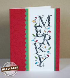Super cute Christmas card using Hero Arts Merry Lights stamp.  Quick and easy!
