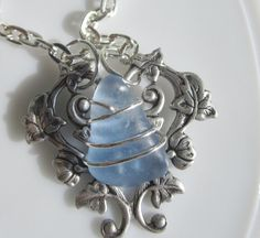 cornflower blue wire wrapped  sea glass by SusanSeaGlassDesigns