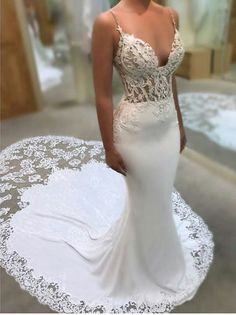 Glamorous wedding dress with spaghetti straps - Fashion - .- Glamouröses Brautkleid mit Spaghettiträgern – Fashion – Glamorous wedding dress with spaghetti straps – Fashion – dress Glamorous # # Spaghetti straps - Spaghetti Strap Wedding Dress, Wedding Dresses With Straps, Wedding Dress Train, Lace Mermaid Wedding Dress, Wedding Dress Trends, Perfect Wedding Dress, Best Wedding Dresses, Mermaid Dresses, Bridal Dresses