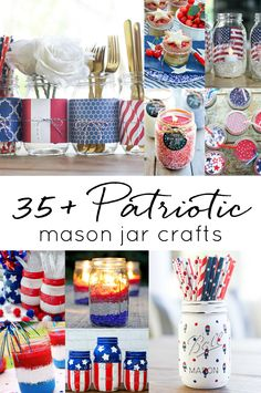 Memorial Day Mason Jar Crafts in Red, White & Blue. Fourth of July Mason Jar Crafts & Decor Ideas. Red White Blue Patriotic Mason Jars. Labor Day decor.