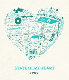 """Tennessee State of My Heart ... Visit our  Instagram Pre-Sale for our California & Tennessee State of My Heart art prints. These beauties are letterpressed and only available in a limited quantity. Take a look in our feed to see colors available and place orders. See below for all of the fancy details   DETAILS: Price: $45.00 + shipping Size: 11"""" x 14"""" Paper: Off-White Matte Printing: Letterpress Ink: Turquoise & Green  https://www.instagram.com/icecreamsocialshoppe/"""