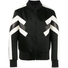 Neil Barrett Panelled Bomber Jacket ($746) ❤ liked on Polyvore featuring men's fashion, men's clothing, men's outerwear, men's jackets, mens short sleeve jacket and mens bomber jacket
