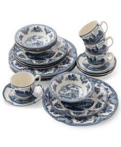 Johnson Bros. Dinnerware, Old Britain Castle Blue 20 Piece Set
