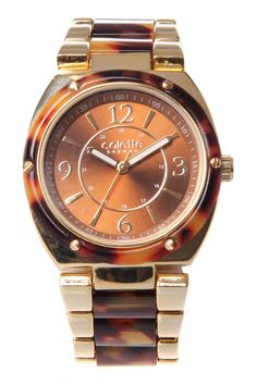Gold Tortoise Acetate Watch in BROWN #7184 - colette by colette hayman